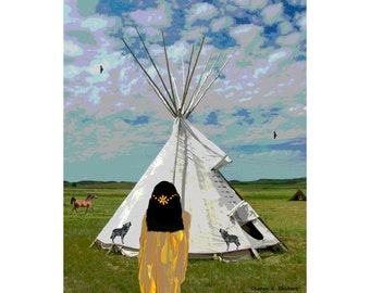 Tribal Woman Art, Native American Inspired, Digital Painting, Four Corners USA, Southwestern Tipi Home, Wall Hanging, Giclee Print, 8 x 10