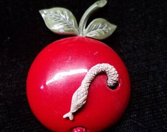 Coro Apple Snake Brooch