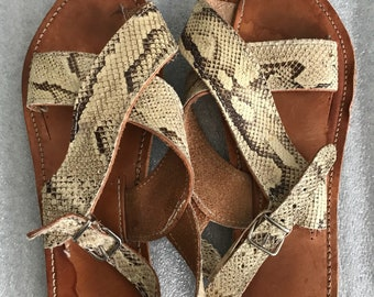Snake leather man sandals shoes size 10 .