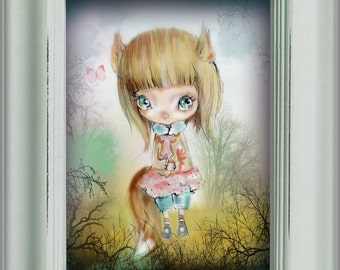 """LIMITED EDITION print signed numbered Chrishanthi' """"Fairy girls"""" lowbrow pop surreal big eyes , gothic art"""