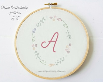 Bundle A-Z Letters in Floral Frame / Hand Embroidery Design PDF Pattern - Instand Digital Download / Stitch pattern / Needlecraft /Solipandi