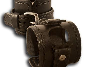 Black Apple iWatch Leather Cuff Watch Band with Stitching