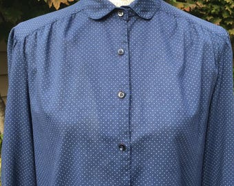 Vintage Alicia Navy Blue Polka-Dot Secretary Blouse Size M-L
