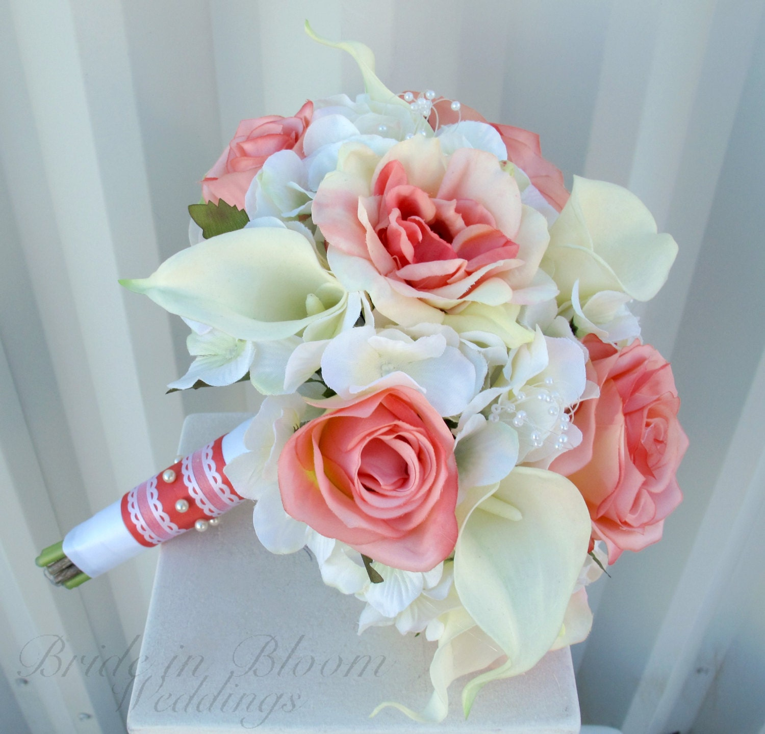 Wedding bouquet coral rose white real touch calla lily zoom izmirmasajfo