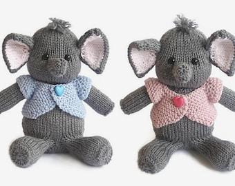 Hand knitted animal elephant baby boy birthday gift elephant doll elephant soft toy handmade knit stuffed animal knitted toy elephant ready