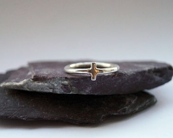 Little Cross Sterling Silver Ring ~ statement ring, geometry, shapes, unique