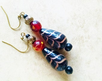 Black  lampworked glass bead earrings