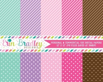 80% OFF SALE Digital Paper Pack Personal and Commercial Use Spa Day Fun Girly Polka Dots and Stripes