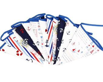 3.2M 12 Pirate Sea  flags Bunting Boy's Birthday Banner Party Decoration Bunting Photo Prop Cotton Fabric Garland Vintage Room Decor