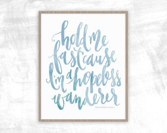 Hopeless Wanderer Lyrics Print | Hold Me Fast | Mumford & Sons | Lyrics Print