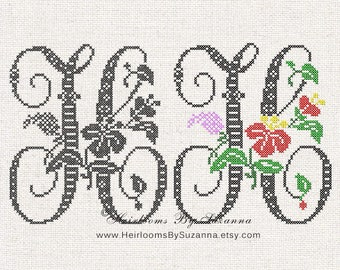 Large Antique Floral Monogram - Machine Cross Stitch Embroidery - Tropical Flower Initial - Cross Stitch Font - Floral Font H - HBS-61-H