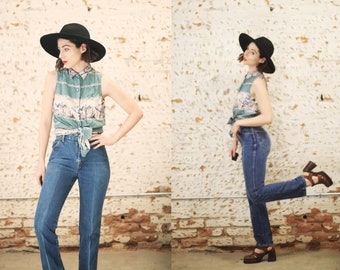 "Vintage 1970s 80s Chic by H.I.S XS 25"" waist small high waist denim jeans / medium wash mom jeans"