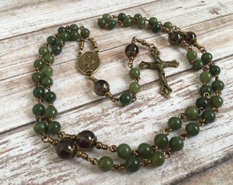 Canadian Jade Traditional Five Decade Catholic  Gemstone Rosary with Miraculous Medal
