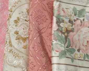 Bundle of Vintage French Fabric Pieces material Blocks Woven Silks Textile