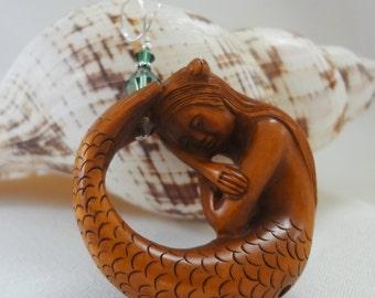 Mermaid Pendant, Hand Carved Wooden Sleeping Mermaid, Netsuke Mermaid, Wooden Mermaid, Ribbon Necklace