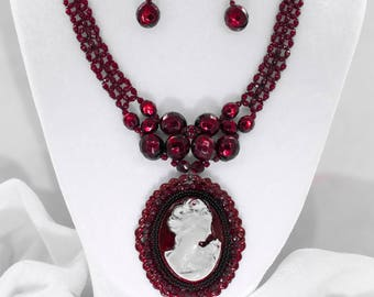 Gothic Victorian beaded necklace with lady silhouette pendant and earrings