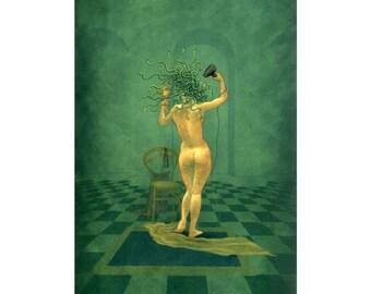 Medusa and the Hairdryer - art print by Nancy Farmer