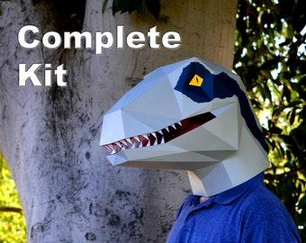 Dinosaur Mask - Velociraptor Mask Kit - Build Your Own Raptor! | Halloween Mask | Dinosaur Costume | DIY Mask | Mask Kit | Craft Kit