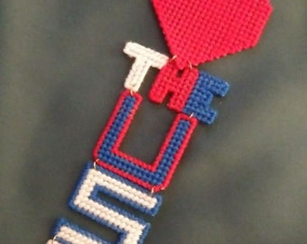 Patriotic I Luv The USA Wall / Door Hanging / 4th of July Decor  / Plastic Canvas