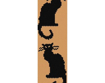 Two Cats Peyote Bead Pattern, Bracelet Pattern, Bookmark Pattern, Seed Beading Pattern Miyuki Delica Size 11 Beads - PDF Instant Download