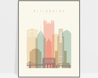 Pittsburgh art print, Poster, Wall art, Pittsburgh Pennsylvania skyline, City poster, Wall Decor Typography art, Home Decor, ArtPrintsVicky