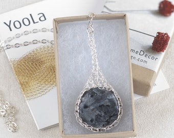Labradorite Necklace, Large Labradorite Pendant Necklace, Round Gemstone Pendant, Unique Pendant, Gray Labradorite Stone, Meditation pendant