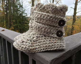 Crocheted Chunky Strapped Slipper Boots