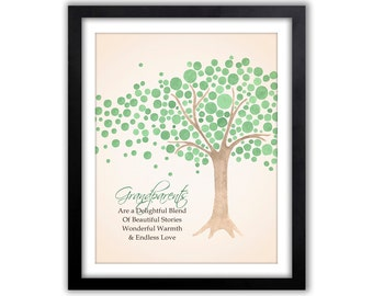 Unique Christmas Gift For Grandparents - Grandparents Quote - Watercolor Wall Art For Grandparent - Tree  - Personalized Gift