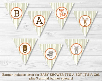 Woodland Forest Animal Baby Shower Banner / Woodland Baby Shower / Birch Trees / Woodland Fox / Printable INSTANT DOWNLOAD A187