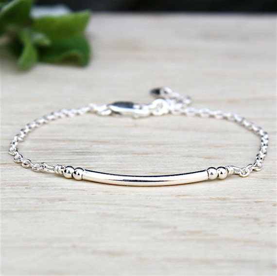 Bracelet Bangle and silver beads on 925 sterling silver chain