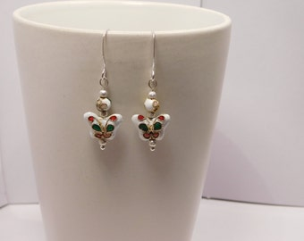 White & Silver Cloisonne Butterfly Earring Pair