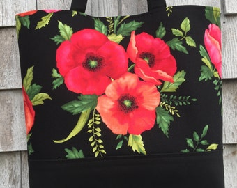Poppies!: Small tote with magnetic snap closure