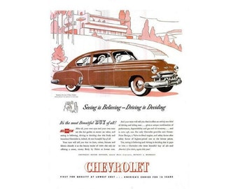 Vintage newspaper ad for a 1949 Chevrolet  -23