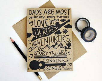 Father's Day Card, Hand Lettered Card, Thank You Dad Card, Step Father Card, Hand Drawn Card, Dad Birthday Card, Kraft Card / 5x7 / Blank