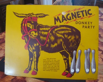 Vintage Magnetic Donkey Party Pin the Tail on the Donkey Game with 5 Tails