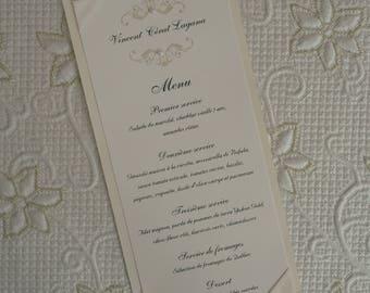 Ribbon Wedding Menu, Silver Wedding Menu, Silver Menu, Ribbon Wedding Menus, Silver Wedding Menus, Silver Menus, Silver Ribbon Wedding Menu
