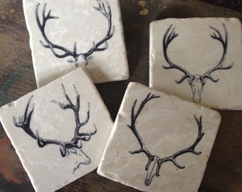 Antlers coasters - coaster set of 4