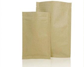 6*8cm size Zipper Kraft Paper Bag 100pcs/lot  top seal