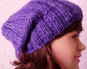 Violet purple hat, watch cap, brimmed beanie hat, mens womens knit hat, purple hat, slouchy hat, chemo cap, amethyst purple hat, winter hat
