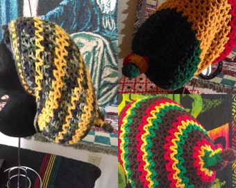 Knotty Boy Rasta Hat/Tam - Red/Gold/Green or Yellow/Camo or Brown/Rasta Colors