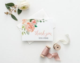 Wedding Thank You Cards Personalized Thank You Cards Wedding Watercolor Thank You Card for Wedding Personalized Couples Stationery