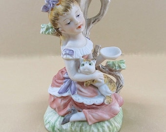 Vintage Girl With Cat Figurine, Hand Painted Figurine, Cat Planter, Girl Planter, Vintage Planter