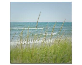 Michigan Beach Photography, Lake Michigan Photo, Green, Teal, Blue, Large Wall Art, Ludington Michigan Photo, Lake Shore Grass