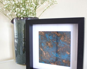 Patina and Etched Copper Tile - Framed