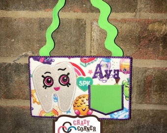 Shopkins tooth fairy door hanger-Shopkins tooth fairy-girls tooth fairy door hanger-girls tooth fairy