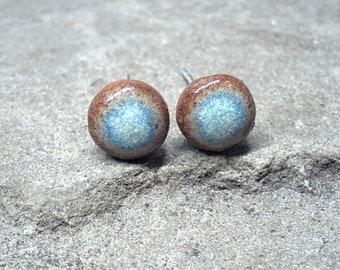 Blue Brown Ceramic Stud Earrings, 6mm Blue Ceramic Stud Earrings, Light Blue Round Posts, Blue Ceramic Earrings, Ceramic Stud Earrings