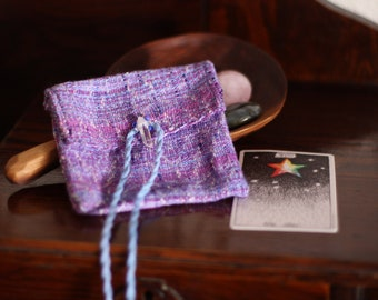 Sugar Plum Fairy Pouch / crystal pouch / altar pouch / sugar plum fairy bag / crystal bag / altar bag / purple pouch / handwoven pouch