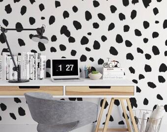Big Dalmatian Print Wall Mural Dots Animal Self Adhesive Black And