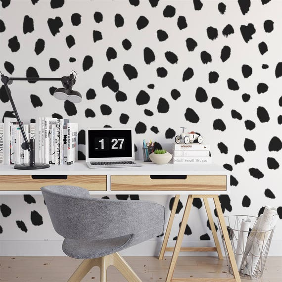 Big Dalmatian Print Wall Mural / Dots Animal Print Self Adhesive Wall Mural / Black And White Spots Removable Wallpaper  M4238 by Etsy