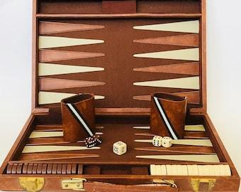 Vintage Backgammon Set, Brown and Ivory Vintage Backgammon Game, Briefcase Backgammon Set, Traveling Backgammon Game